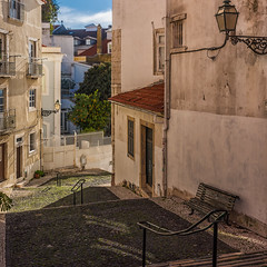 Cobbled Alley in Alfama (Explored) (Sorin Popovich) Tags: alfama lisboa lisbon lisbonne lissabon portugal oldtown cobblestonestreet street architecture alley nopeople