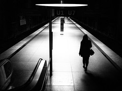 subway station (Sandy...J) Tags: atmosphere alone blackwhite city darkness streetphotography urban walking women light subway underground monochrom
