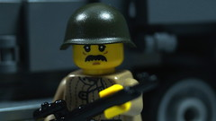 Lego WWII Russian Soldier (Force Movies Productions) Tags: lego wwii russian soldier trooper mustache toy minfig military brickarms brickmania brickizimo soviet union world war ii comrad photograpgh photograph photo truck gaz weapons toys bricks