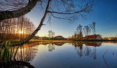 *Spring Time* (Vest der ute) Tags: xt2 norway rogaland haugesund earlymorning spring water puddle trees houses reflections mirror landscape sunrise bluesky grass fav25 fav200
