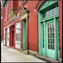 Street, Maysville KY (Nickademus42) Tags: kodak 100 medium format hasselblad 500cm film photography podcast project kentucky decay paint peel chip ektar