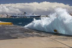 5 Islands: Tinos – Here it comes... (Thomas Mulchi) Tags: cycladesislands cyclades 2016 tinos spring islandhopping southaegean greece ferry ferryport roughsea windy highsea cloudy wave bigwave egeo gr