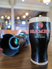 Beamish Irish Stout my rating 9 outa 10 (Malcom Lang) Tags: beer bier biere beamish irish stout cork ireland alc drink alcohol grog foam glass camera pub table lens hood canon canonpowershot powershot canoneos6d canonef2470mm canon6d canonef mal lang photography ale head froth bubbles dark indoors lights service barman bar