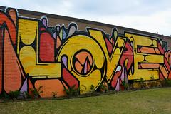 Houston - Colourful Mural (Drriss & Marrionn) Tags: 2016houstonweekend houston houstontx texas usa outdoor street streetviews streetscene streetlife art artwork mural murals colour colours love yellow orange red graffiti norhill frameitlevel01