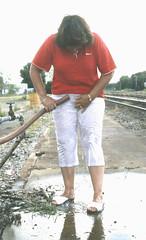 WET 'n WILDwood, 1994 (clarkfred33) Tags: art wetfun wetadventure wildwood railroadyard 1994 whitepants wetpants wetlook water wet hose rinse wetlady wetclothes wetshoes dripping laugh humor soak redandwhite