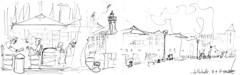 """La Rochelle, midi, sur une terrasse de la """"ville en bois"""" (Croctoo) Tags: terrasse larochelle cafés restaurant croctoo croquis croctoofr crayon poitoucharentes charentemaritime"""