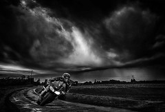 Running from the storm. (bainebiker) Tags: storm sky clouds motorcycle fields farmland countryroad kawasaki ninja zx1000r hdr canonef24mmf14liiusm spalding lincolnshire uk