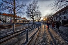 Promenade at sunset (marko.erman) Tags: ljubljana slovenia slovenija city capital town architecture sunset sun shadow tree river ljubljanica food market arches arcades jože plečnik light architecte promenade