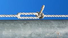 rope (Leonard J Matthews) Tags: rope bowline cord pole metal fabric mythoto tie knot aiatralia blue white simply superb