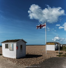 Boring Goring (frattonparker) Tags: nikond810 tamron28300mm raw lightroom6 panorama englishchannel flag beachhuts clouds cirrus cumulus cirrocumulus cumulonimbus altocumulus stratus stratocumulus shingle frattonparker btonner