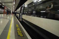 Luggage rack (Spannarama) Tags: cannonstreet station platform train lights reflections evening commuters passengers man luggagerack bag mindthegap yellowline london uk