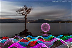 Raft Orb (Pikebubbles) Tags: davidgilliver davidgilliverphotography lightjunkies lightpainting lightpaintingtutorial light nightography nightphotography lochlomond milarrochy creative creativephotography orb ribbons neon colours colors reflection canon scotland landscape lightgraffiti lightsculpture paintingwithlight