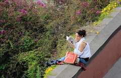 Irrepressible desire to read (S. Mel photo) Tags: 300mm sigma canon read irrepressible girl book