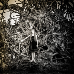 we all have roots.... (soul pixie) Tags: tree oaktree roots age child blackandwhite outdoors naturallight canon lovely kearstenlederphotography
