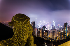 Lion Overlooks Hong Kong (Jared Beaney) Tags: canon6d canon hongkong hongkongphotography asia china victoriapeak cityskyline nightphotography nightlandscapes skypeak citylights views lookout