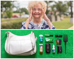 Judy Diptych (J Trav) Tags: persona granny grandmother diptych portrait whatsinyourbag theitemswecarry showusthecontentsofyourbag thingsorganizedneatly augusta georgia outdoors smile