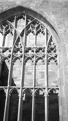 Coventry cathedral (OhDark30) Tags: olympus 35rc 35 rc 35mm film monochrome bw blackandwhite bwfp fomapan 200 rodinal coventry cathedral window arch tracery glass medieval