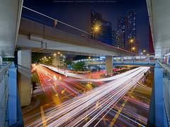 Mong Kok, Hong Kong (mikemikecat) Tags: 旺角 mongkok hongkong mikemikecat stacked building colorful blue 建築 建築物 建築結構 基礎建設 城市 夜景 nightscape urban 戶外 h天際線 建築大樓 cityscapes lighttrails olympus olympusomd em10markii livecomposite hdr