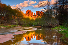 Cathedral Sunset (David Shield Photography) Tags: cathedralrock oakcreek sedona southwest arizona landscape reflection redrocks coconino sky water serene trees color light nikon