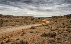The winding dirt road (Ralph Green) Tags: australia brokenhill newsouthwales silverton clouds dirtroad landscape redearth rocks scrub trees