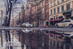 Berlin Rain (camerue) Tags: city taxi rain color street berlin
