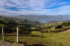 Say Goodbye Until Next Time (Jocey K) Tags: newzealand southisland canterbury akaora bankspeninsula sky akaoraharbour hills sea fence farmland clouds scene