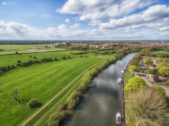 Nice drone weather... (Kerriemeister) Tags: drone aerial photography phantom phantom3 dji pro york fulford river ouse boats clouds sky racecourse rowntrees trees fields