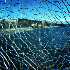 Cracked #glass #beach #crackedglass while getting off the ferry. (tiina2eyes) Tags: cracked glass beach crackedglass while getting off ferry ifttt instagram