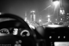 The beautiful city ahead... (EHA73) Tags: summiluxm11424asph leica leicamm top246 blackandwhite bw nightphotography kuwaitcity kuwait downtown skyscraper towers building liberationtower cityscape
