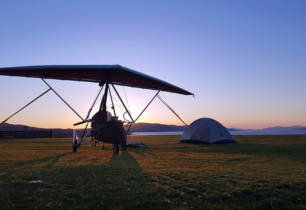 We watched the sun set behind the trike and the tent