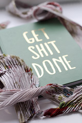 get shit done (DianaDeluxe Jewelry) Tags: bijoux colorfuljewllery silk fabric notebook words getshitdone shit motivation dailymotivation soft softcolors fiber silkfabric dof softfocus ethereal