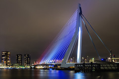 Erasmusbridge in red, white and blue (R. Engelsman) Tags: erasmusbrug erasmusbridge brug bridge red white blue skyline city nightphotography rotterdam 010 rotjeknor netherlands nl 5mei bevrijdingsdag night river water nacht stad outdoor