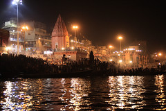 waiting crowd (lethologically) Tags: people india water festival river evening boat events religion event varanasi ritual hindu hinduism puja durgapuja ganges riverbanks northindia incredibleindia