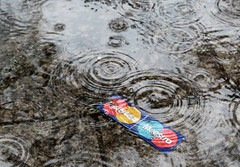 Rainy day in Vilnius (roomman) Tags: old city reflection wet water rain sign vintage out logo puddle cards grey town photo drops waves walk capital wave atmosphere drop ring company explore master rings reflect card rainy pay worn photowalk raindrops maestro effect lithuania vilnius raindrop mastercard payment 2013 maestrocard