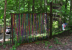 The Tapestry of Art (BKHagar *Kim*) Tags: art fence beads colorful entrance frame bead mardigrasbeads bedspring bkhagar