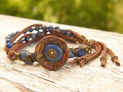 Wire-wrapped Suede Tassel Bracelet (TreeWingsStudio) Tags: bracelet wirewrapped microsuede bluesodalite