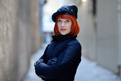 Stranger #210 - Emma (gtpete63) Tags: street city red st project hair hotel clothing nikon surf market f14 sydney strangers 85mm first sigma stranger redhead perth portraiture 100 beret qt base instructor d600 doorperson gtpete63 gtpete wwwgtpetephotgraphycomau petergrifoni