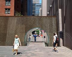 Waterfall with Pedestrian Tunnel Bridge, Midtown Manhattan, New York City (jag9889) Tags: park city nyc bridge ny newyork public glass modern waterfall manhattan tunnel dot midtown pedestrians pocket cascade 2013 publicplaza 7avenue 6avenue west48thstreet jag9889