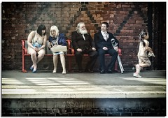 Stoke-On-Trent station (lovestruck.) Tags: uk boy summer england people man girl station train bench women waiting sitting candid sony platform railway sit rails stokeontrent seated 2013 rx100 dscsonyrx100