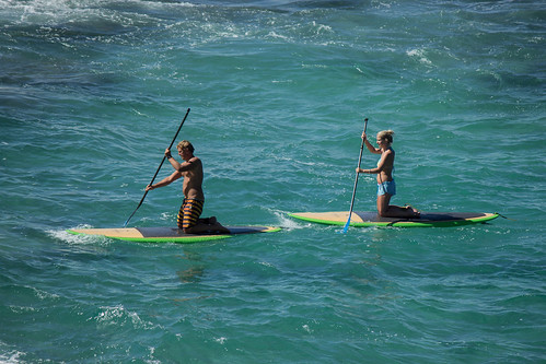 sea guy girl board paddle paddleboard