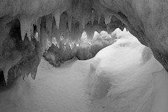 Ice Cave Ice (peterkelly) Tags: winter bw snow ontario canada cold ice beach digital icicle northamerica cave grandbend southcottpines
