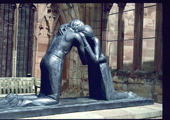 Coventry - Reconciliation Sculpture 1945 by Josephone de Vasooncellus (aciamax) Tags: york uk bridge england sculpture church glass lady newcastle coach swan nest jester trafalgar houseboat shakespeare le ww2 stonegate signet minster ouse avon hamlet stratford house barges petergate dragoon hanley bridge stained garden street queens high royal guy hotel ann all cathedral council north angel tea guards stratforduponavon stmichaels minster saints windows pots stpeters coventry fawkes chimney swans hathoway godiva lendal stmichael belfro