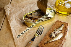 Sprat sandwich (Olena Mykhaylova) Tags: sea food brown fish metal breakfast paper bread table lunch tin golden wooden open background rustic tasty plate fork can sandwich eat snack meal canned oil seafood appetizer copyspace sardine smoked salted sprats sprat