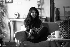tea time (s_afzal) Tags: pakistan portrait bw girl monochrome canon blackwhite tea relaxing livingroom couch portraiture pakistani teatime lahore lseries canonlseries canon24105 portraitlens