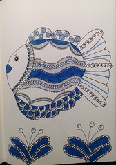 Zentangle fish (anviss) Tags: blue fish plant illustration ink sketch blauw drawing sketchbook marker vis illustratie stift tekening tombow unipin zentangle