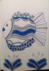 Zentangle fish (anviss) Tags: blue fish plant illustration ink sketch blauw drawing sketchbook marker vis illustratie stift tekening tombow unipin zentangle