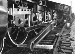 Rods down, 1976 (clarkfred33) Tags: steamlocomotive maintenance sp4449 southernpacific famouslocomotive historiclocomotive vintage vintagephoto stpetersburg americanfreedomtrain 1976 railroadphotography wheel