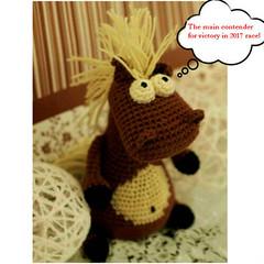 brown crochet funny horse (eastfolk) Tags: crochet horse big eyes stuffed softie plush handmade bulging funny brown farm horselover gift