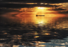 Only in my dreams... (Kerriemeister) Tags: art coast coastal dream boat tanker sea rays raysoflight raysofgod sky clouds reflection photoshop atmosphere sunset crepuscular