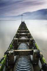 The Vanishing. (Andy Bracey -) Tags: bracey andybracey landscape seascape westmersea merseaisland essex mersea greatbritain england sea water blackwater estuary blackwaterestuary pipe wastepipe corrugated thevanishing longexposure leefilters bigstopper nikon converginglines motionblur vanished textured daymarker
